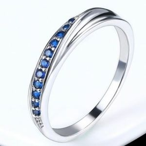 Pave 18k White Gold Plated & Sapphire Zircon Ring